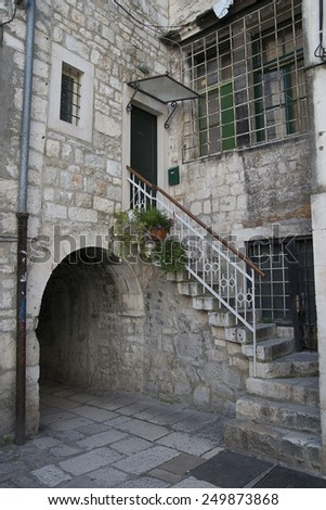 narrow street of the old town of Split, Croatia - stock photo