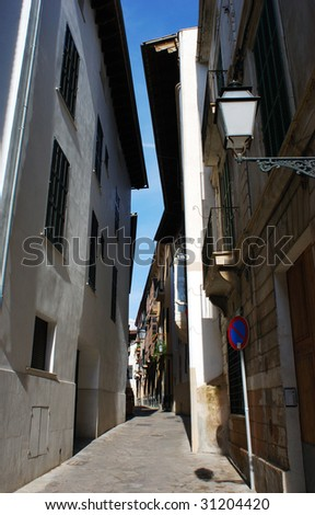 Narrow streets in the old town of Palma de Majorca, Spain.