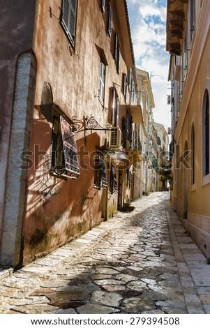 Narrow streets of Corfu island, Greece - stock photo