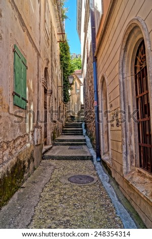 Narrow streets of Montenegro  - stock photo