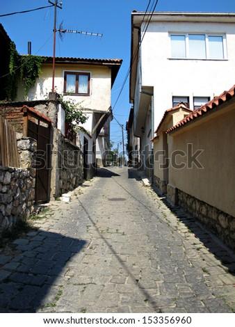 narrow streets of Ohrid town, Macedonia - stock photo