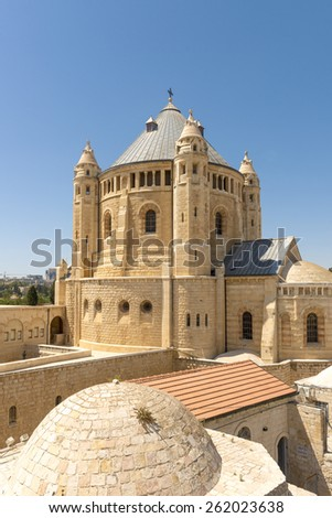 narrow streets of old Jerusalem. Armenian Church Cathedral - stock photo