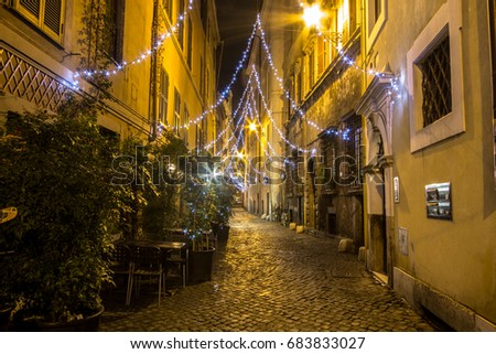 Narrow streets of old Rome at night, Italy