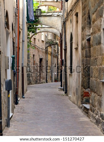 narrow streets  of old town Noli, italy