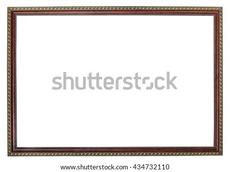 narrow wooden brown picture frame with golden ornament with cutout blank canvas isolated on white background - stock photo