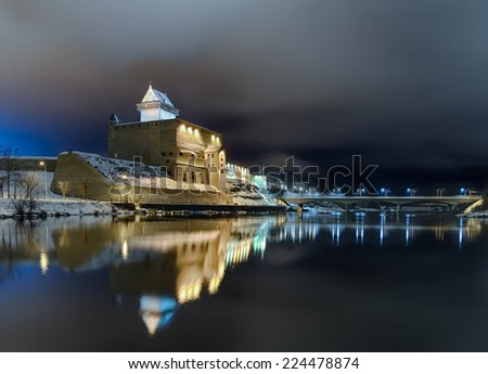 Narva city - The Long Herman Castle. Night view