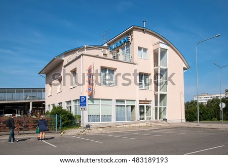 NARVA, ESTONIA - AUGUST 21, 2016: People near Europe Guest House. Located in a new city not far from Astri Keskus Center