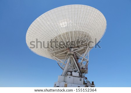 NASA's Goldstone 70 metres Deep Space Station (DSS) - in the Mojave Desert, near Fort Irwin. This is the radio-antenna that keeps in touch with Voyager 1, the farthest away ever traveling spacecraft. - stock photo