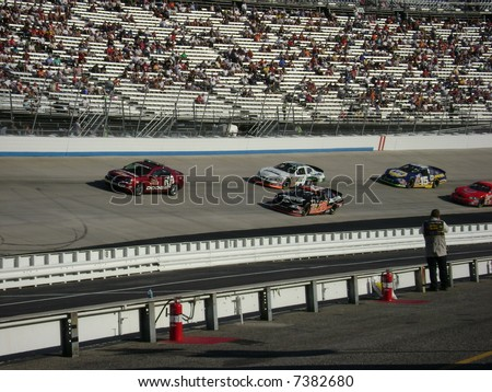 nascar`s joey logano racing on the track