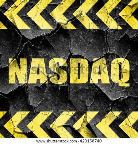 nasdaq, black and yellow rough hazard stripes - stock photo