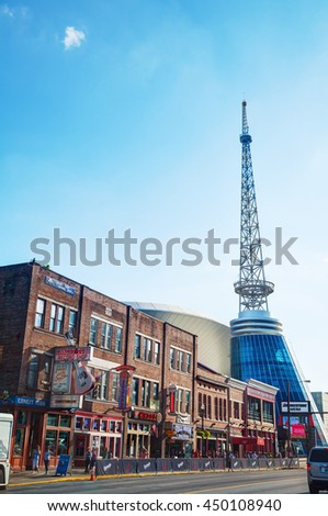 NASHVILLE - AUGUST 28: Downtown Nashville with people on August 28, 2015 in Nashville, TN. Nashville is the capital of the State of Tennessee and the county seat of Davidson County.