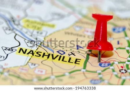 nashville city pin on the map - stock photo