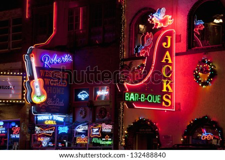 NASHVILLE - DECEMBER 03: Neon signs on Lower Broadway Area on December 03, 2012 in Nashville, Tennessee, USA