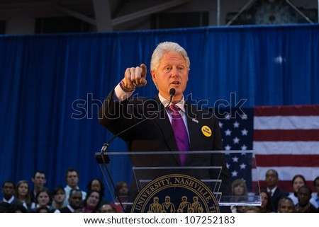 NASHVILLE - JANUARY 21: Former President Bill Clinton speaks at Fisk University January 21, 2008 in Nashville, Tennessee.