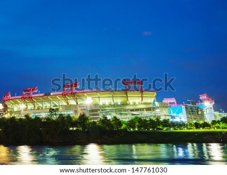 NASHVILLE - MAY 2: LP Field early in the morning in Nashville on May 02, 2013. The stadium is the home field of the NFL's Tennessee Titans and the Tennessee State University Tigers. - stock photo