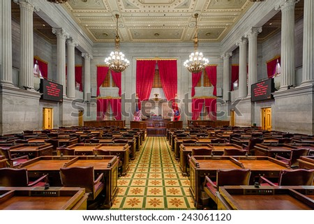 NASHVILLE, TENNESSEE - DECEMBER 1: House of Representatives Chamber in the Tennessee State Capitol building on December 1, 2014 in Nashville, Tennessee