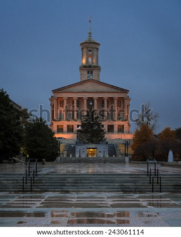 NASHVILLE, TENNESSEE - DECEMBER 1: Rainy night at the Tennessee State Capitol building on December 1, 2014 in Nashville, Tennessee - stock photo