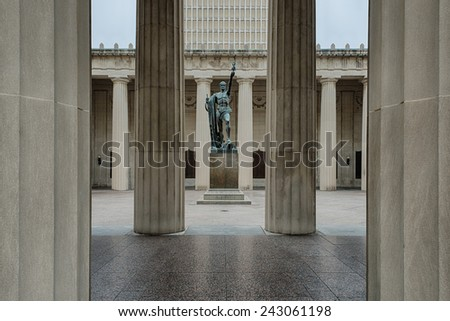 NASHVILLE, TENNESSEE - DECEMBER 1: World War I Memorial from the Legislative Plaza on December 1, 2014 in Nashville, Tennessee - stock photo