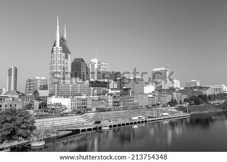 Nashville, Tennessee downtown skyline at Cumberland River. in Black and white - stock photo