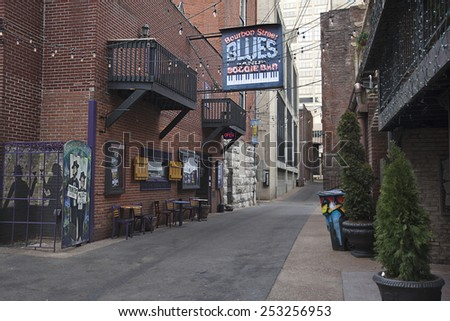 NASHVILLE, TENNESSEE-FEBRUARY 4, 2015:  Printer's Alley in Nashville, Tennessee is world famous for over a hundred years of entertainment excellence.