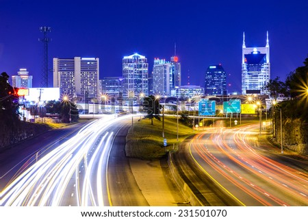 Nashville, Tennessee, USA downtown skyline and highway. - stock photo