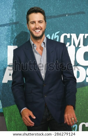 NASHVILLE, TN-JUN 10: Singer Luke Bryan attends the 2015 CMT Music Awards at the Bridgestone Arena on June 10, 2015 in Nashville, Tennessee. - stock photo