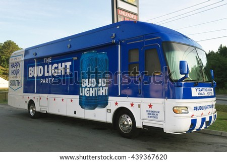 NASHVILLE, TN-JUNE 19, 2016:  Bud Light party bus parked at a truckstop.  The bus is a promotional tour sponsered by Budweiser.