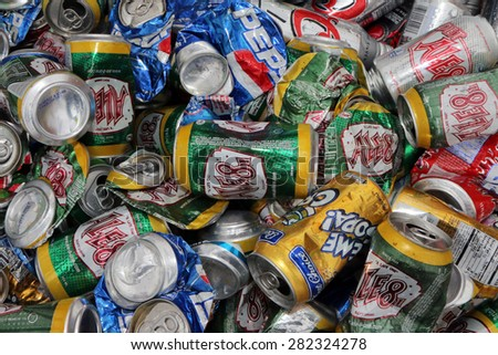 NASHVILLE, TN-MAY, 2015:  Recycled aluminum beverage cans from various brands of drinks.   - stock photo