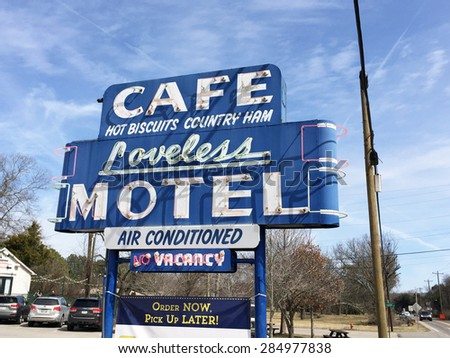 NASHVILLE, TN-MAY, 2015:  Sign in front of the Loveless Cafe, one of Nashville's iconic restaurants known for their famous biscuits and gravy.  The Loveless has been featured on many TV shows.   - stock photo