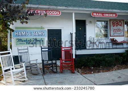 NASHVILLE, TN-NOV 6, 2014: The Hams & Jams Country Market at The Loveless Motel and Cafe in Nashville, Tennessee. Known for southern style cooking and its biscuits, country ham, and red-eye gravy. - stock photo