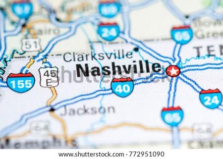 Nashville Usa On Map Stock Photo 772951090 Shutterstock