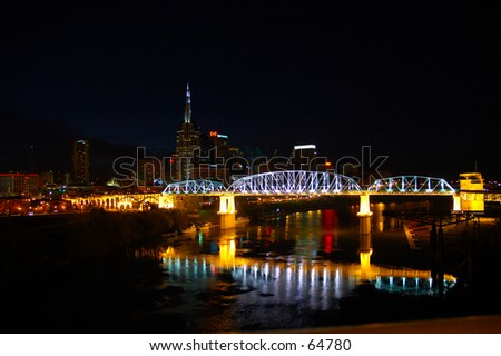 Nashville Walking Bridge At Night
