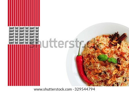 Nasi briyani or briyani rice with cili, mint leaf, cinnamon and star anise as a garnish. Empty with space and square red line for inserting texts - stock photo