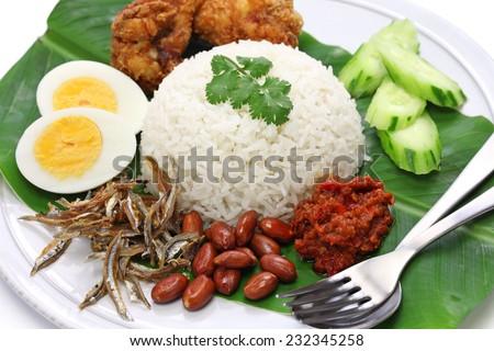 nasi lemak, coconut milk rice, malaysian cuisine isolated on white background - stock photo