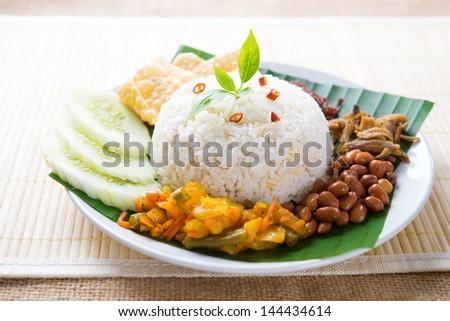 Nasi lemak, malay traditional rice meal - stock photo