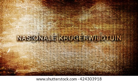Nasionale krugerwildtuin, 3D rendering, text on a metal backgrou