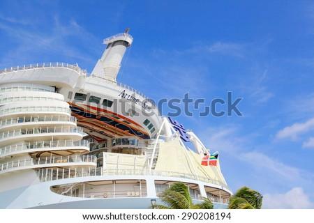 Nassau, Bahamas - April 15, 2015: Royal Caribbean cruise ship Allure of the Seas  docked at port of Nassau, Bahamas on April 15, 2015. It's the largest passenger ship ever built - stock photo