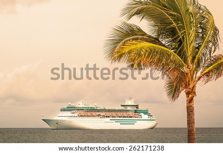 NASSAU, BAHAMAS - SEPTEMBER, 06, 2014: Royal Caribbean's ship, Majesty of the Seas, sails in the Port of the Bahamas on September 06, 2014