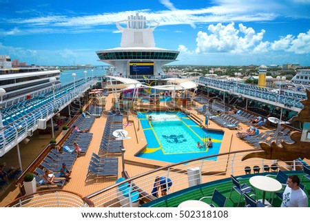 Nassau, Bahamas - September 7th, 2016: Active Pool Deck of the Royal Caribbean Majesty Of The Sea docked at Nassau Bahamas on September 7th, 2016