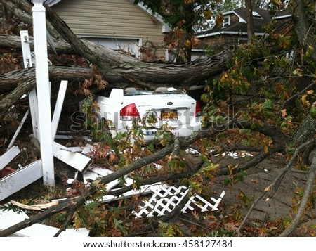 Nassau County, NY - October 30 2012:  Superstorm Hurricane Sandy heavy rain and wind cause tree to call and crush a white car on Long Island New York. Natural disaster from tropical storm. - stock photo
