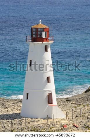 Nassau Harbor Lighthouse in New Providence, Bahamas - stock photo