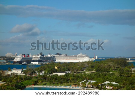 NASSAU, USA - MARCH 13, 2015: Luxury cruise ships at the harbour