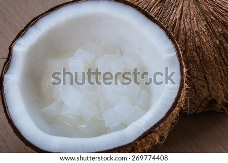 Nata de coco, healthy food fermentation. Image corresponding to the product by nata de coco, such as food and beverage