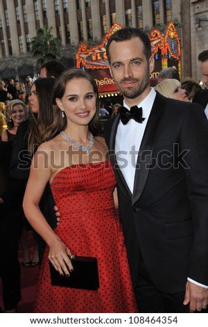 Natalie Portman & Benjamin Millepied at the 84th Annual Academy Awards at the Hollywood & Highland Theatre, Hollywood. February 26, 2012  Los Angeles, CA Picture: Paul Smith / Featureflash - stock photo