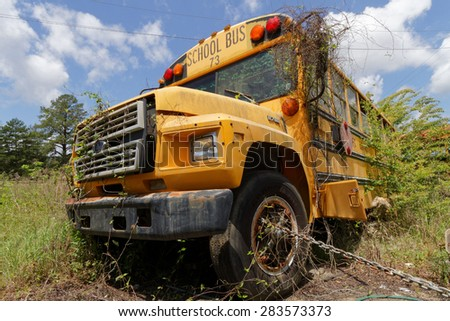 NATCHEZ, MISSISSIPPI, May 7, 2015 : School bus cemetery. School buses provide an estimated 10 billion student trips every year.