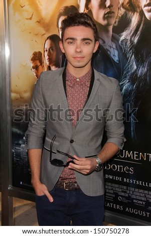 "Nathan Sykes at the ""The Mortal Instruments: City Of Bones"" Los Angeles Premiere, Arclight, Hollywood, CA 08-12-13 - stock photo"