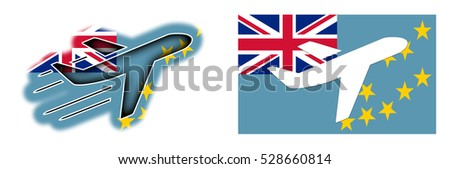 Nation flag - Airplane isolated on white - Tuvalu