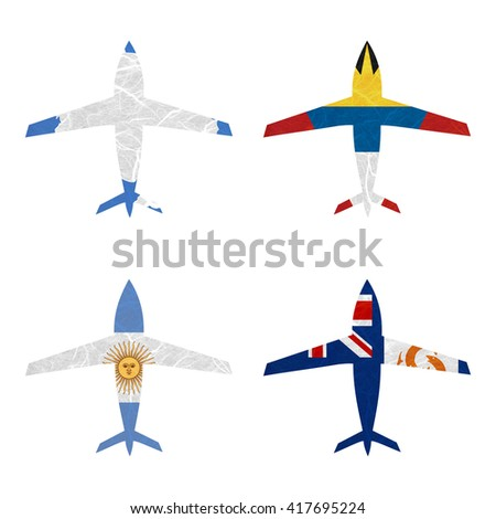 Nation Flag. Airplane recycled paper on white background. ( Anguilla , Antarctica , Antigua and Barbuda , Argentina ) - stock photo