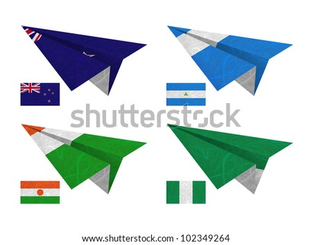 Nation Flag. Airplane recycled paper on white background. ( New Zealand , Nicaragua , Niger , Nigeria )