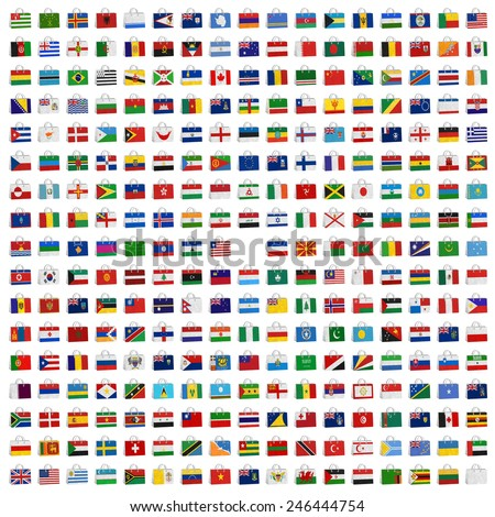 Nation Flag. Bag recycled paper on white background. - stock photo